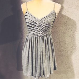 Grey Knit Raw-Pleat Skater Dress